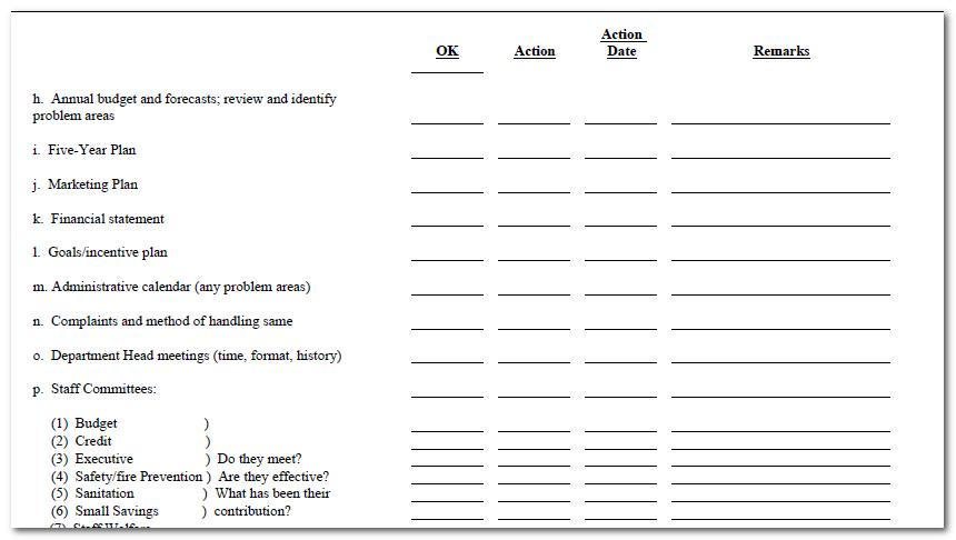 General Manager Handover Checklist