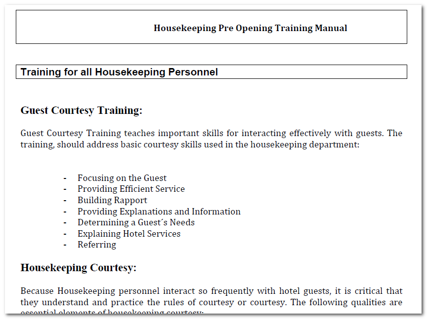 Hotel housekeeping training manual with 150 sop: a must read guide.
